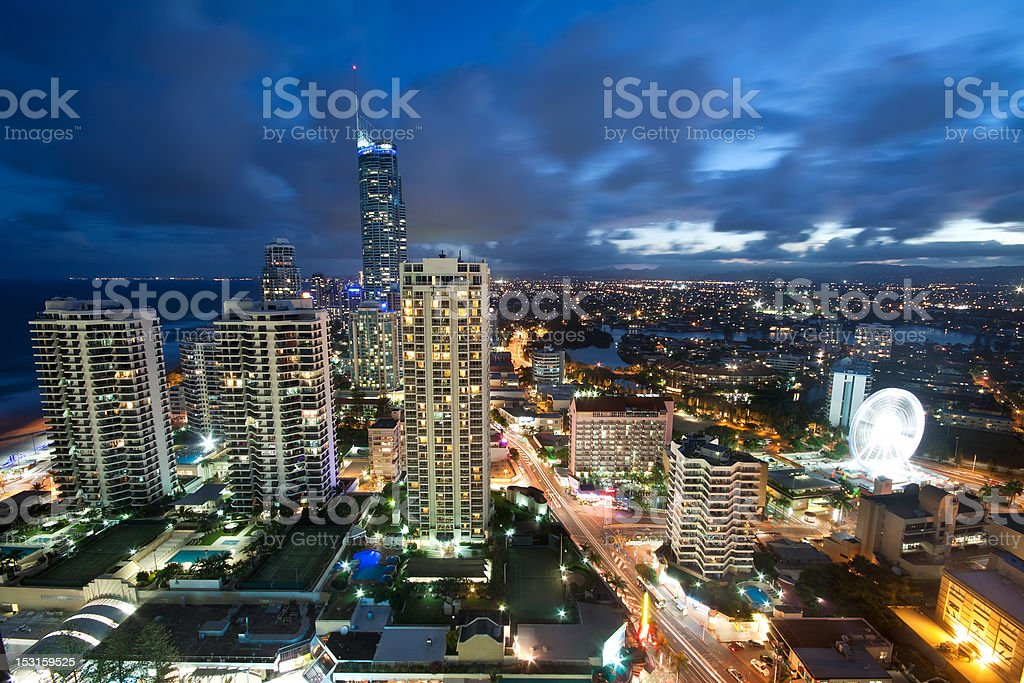 modern city at night viewed from above royalty-free stock photo