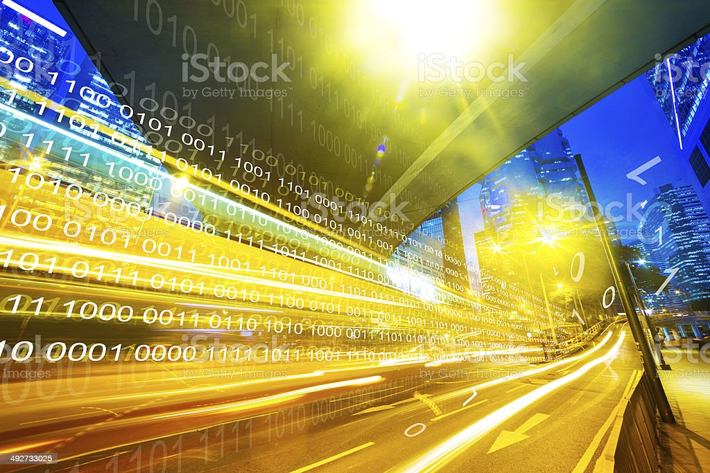modern city at night with technology background stock photo