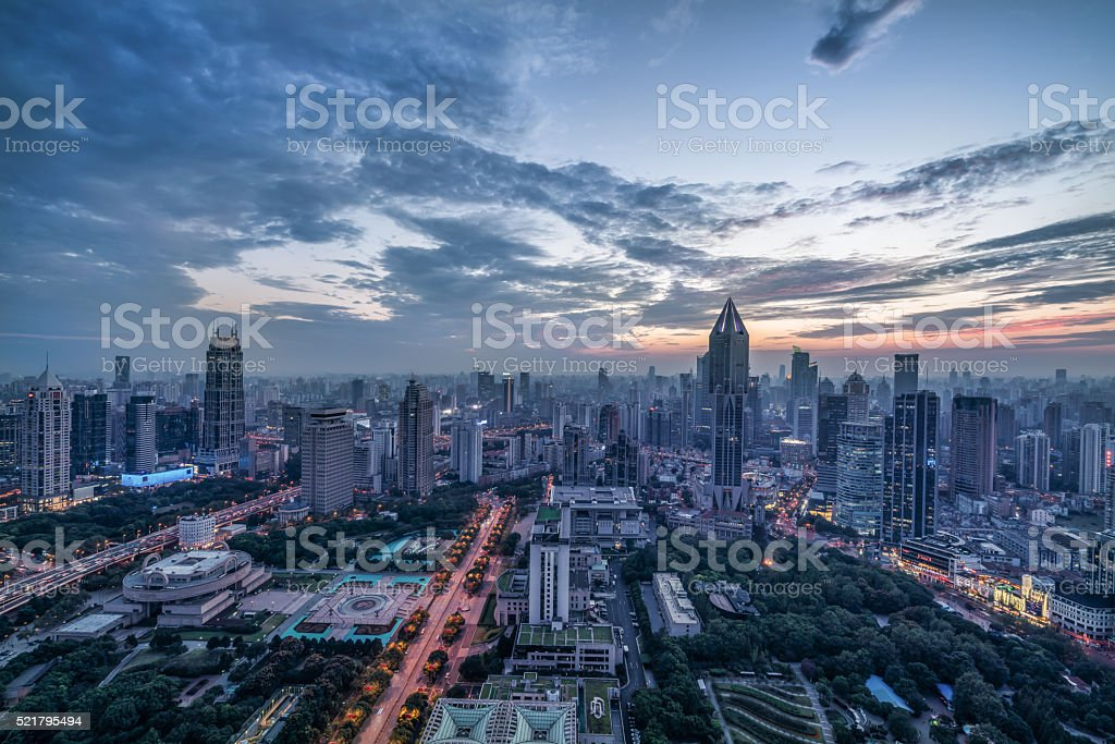 modern city at sunrise,Shanghai skyline. stock photo