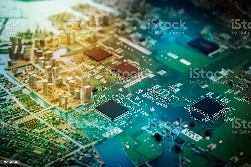 modern city diorama and electric circuit board, abstract image visual stock photo