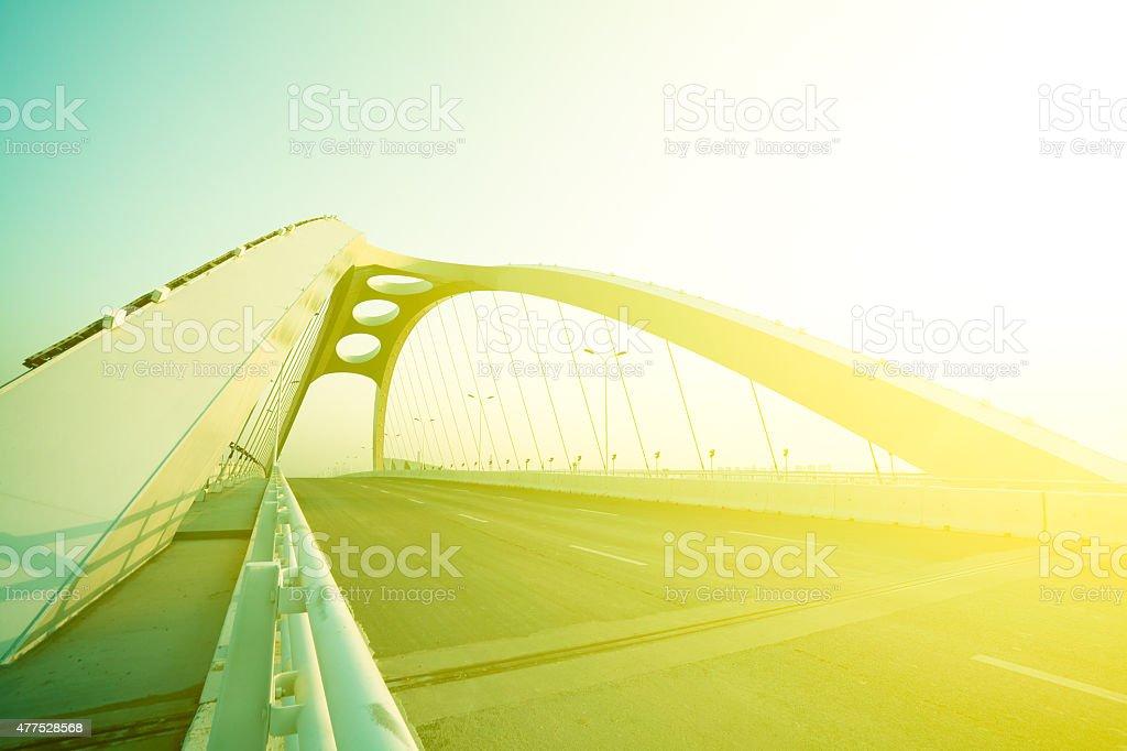 Modern city highway ironbridge background stock photo