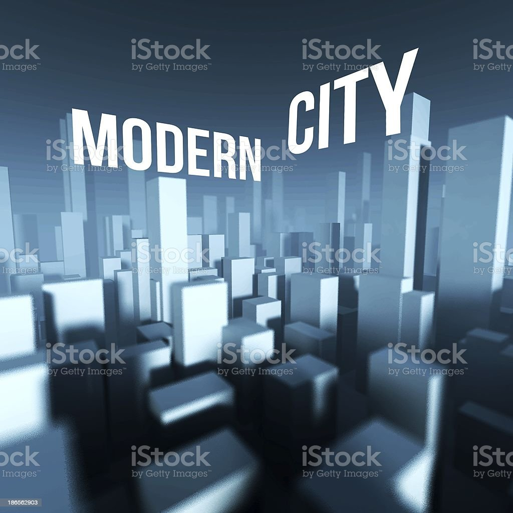 Modern city in 3d model of town downtown, Architectural concept royalty-free stock photo