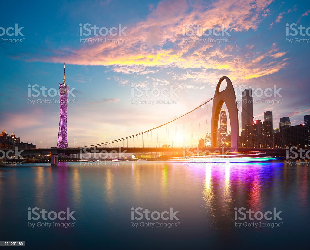 Modern city landmark architecture backgrounds of pink clouds stock photo