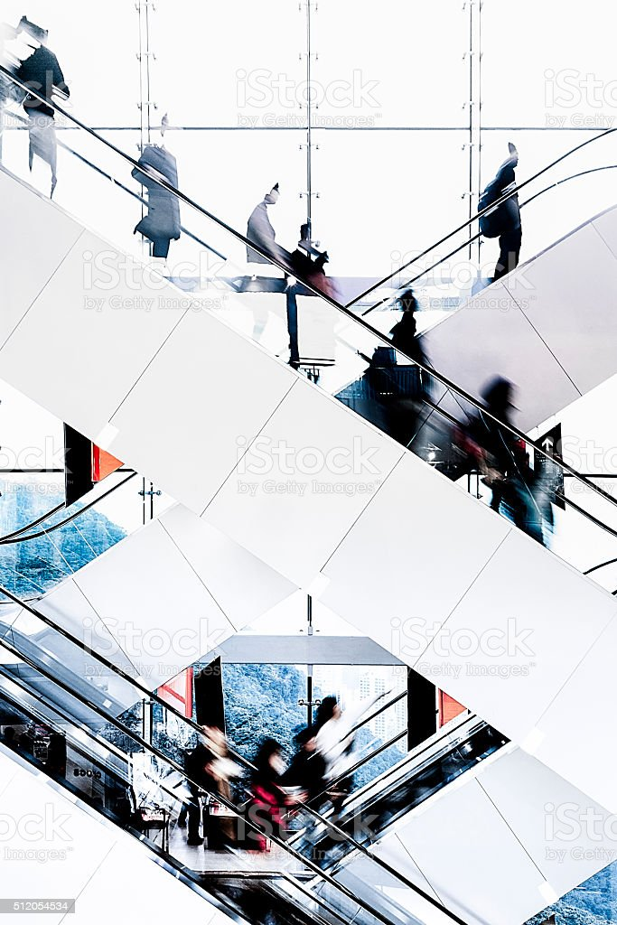 Modern City Life- Blurred Motion of Passengers stock photo