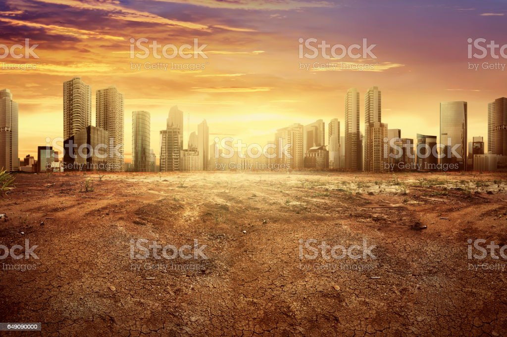 Modern city showing the effect of climate change stock photo