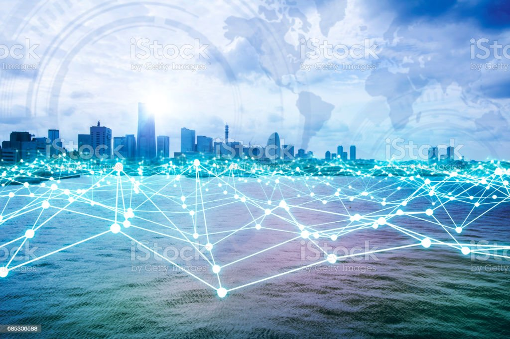 modern city skyline and mesh network concept stock photo