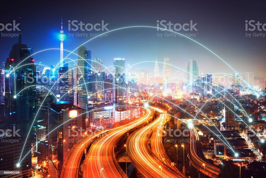 Modern city skyline stock photo