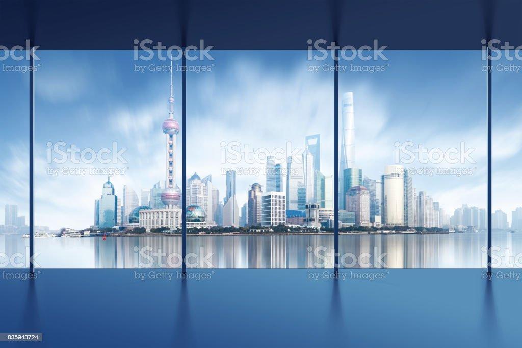 modern city skyline ,shanghai pudong, China. stock photo