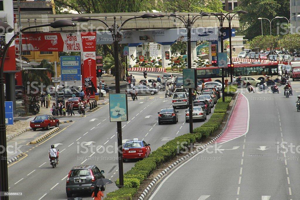 Modern City Street & Cars &Lamppost royalty-free stock photo