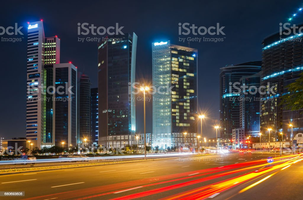 Modern city street view at night stock photo