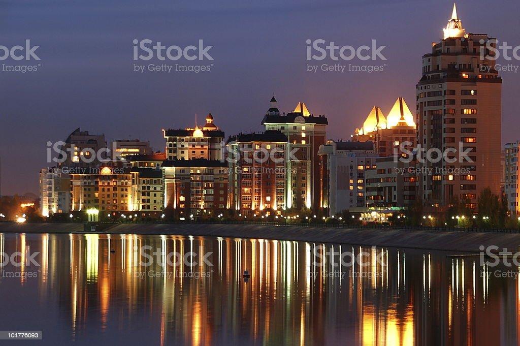 Modern city Waterfront Illuminated stock photo