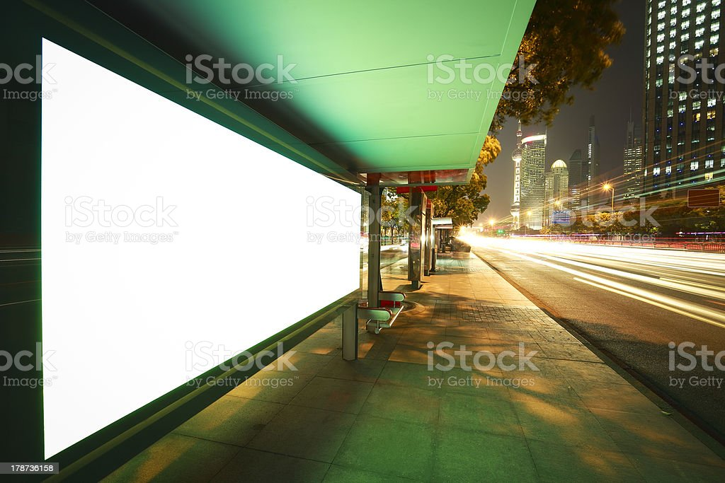 A modern city with blank advertisement boxes royalty-free stock photo