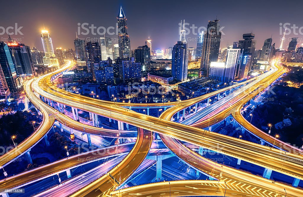 modern city with highway interchange stock photo