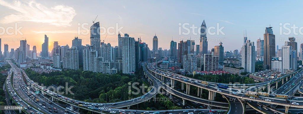 modern city with highway interchange stock photo