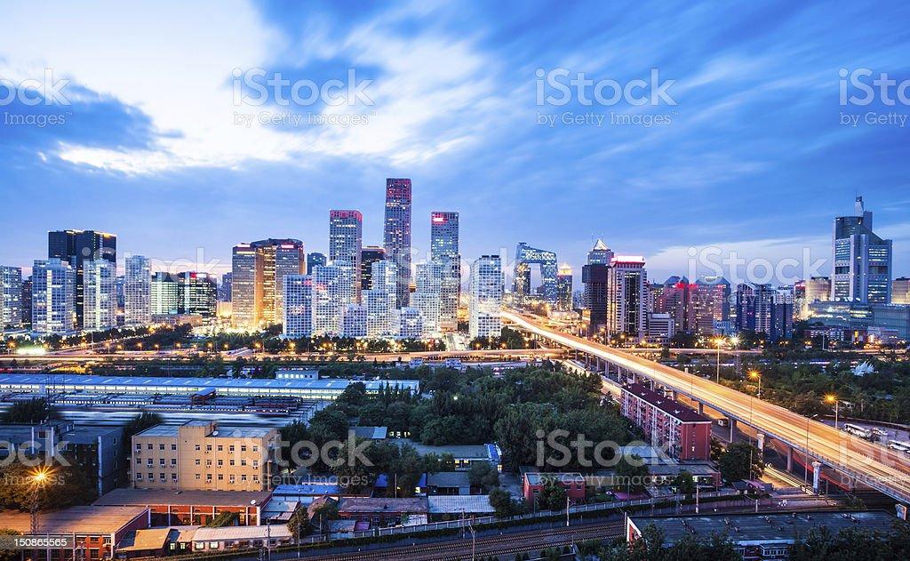 modern city with sunset,beijing stock photo