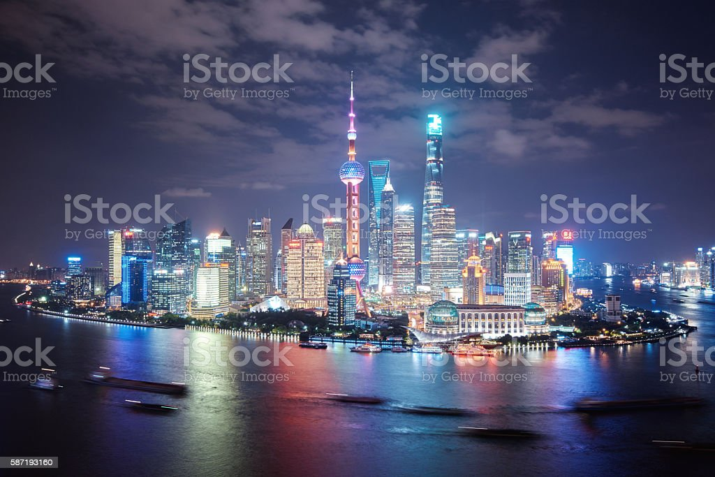 modern cityscape and skyline of Shanghai stock photo