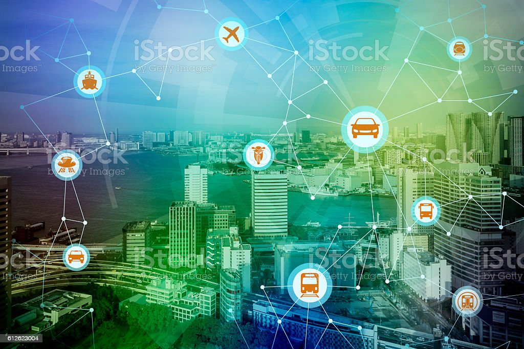 modern cityscape and various transportation network stock photo