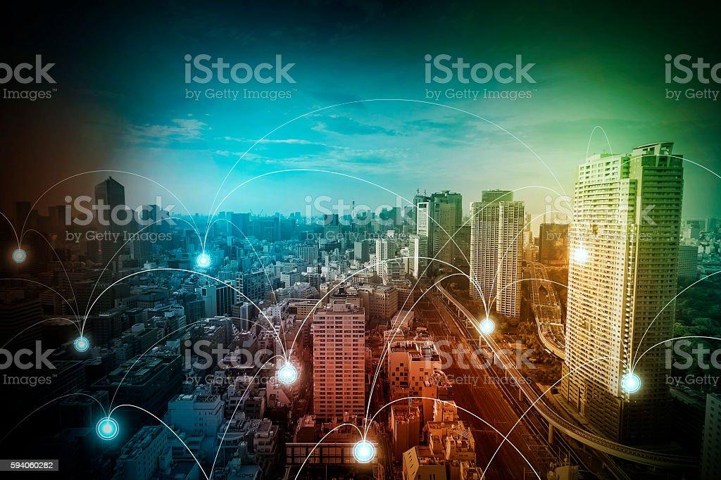 modern cityscape and wireless sensor network stock photo