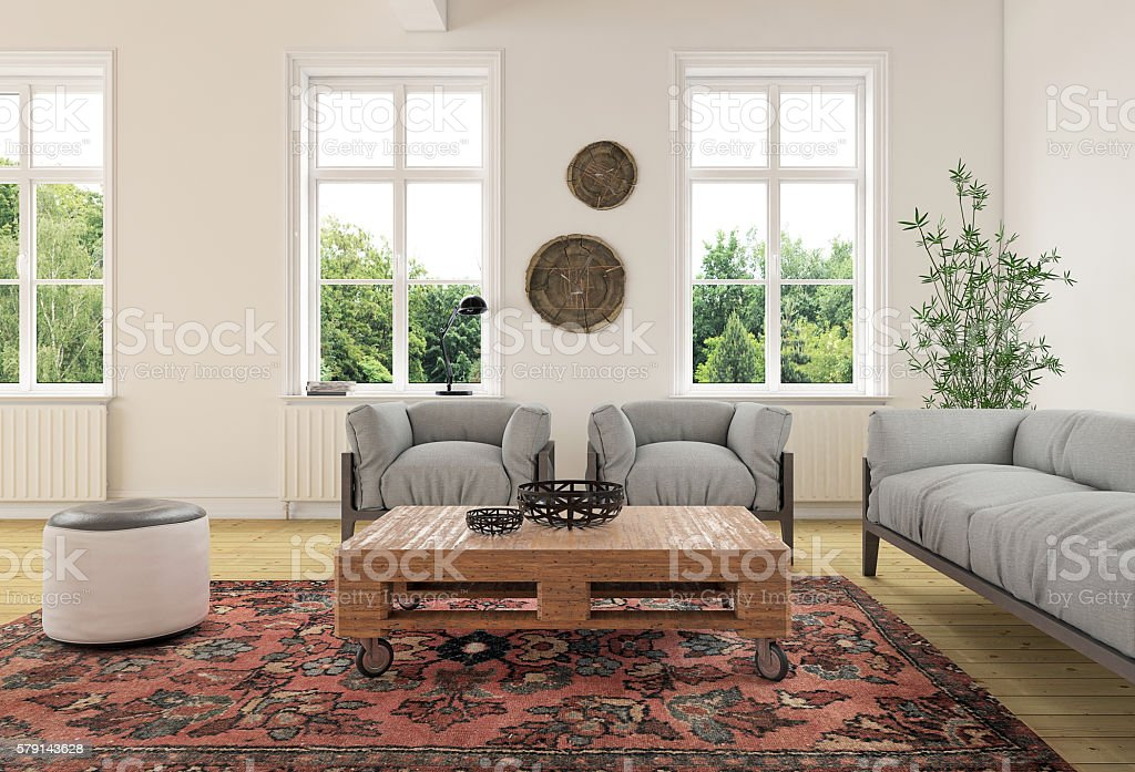 Modern classic living room interior stock photo