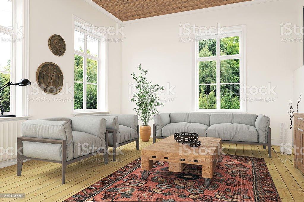 Modern classic living room interior stock photo