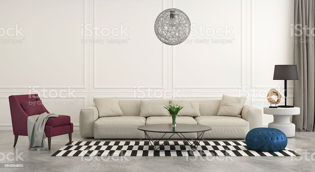 Modern classic living room with white sofa stock photo