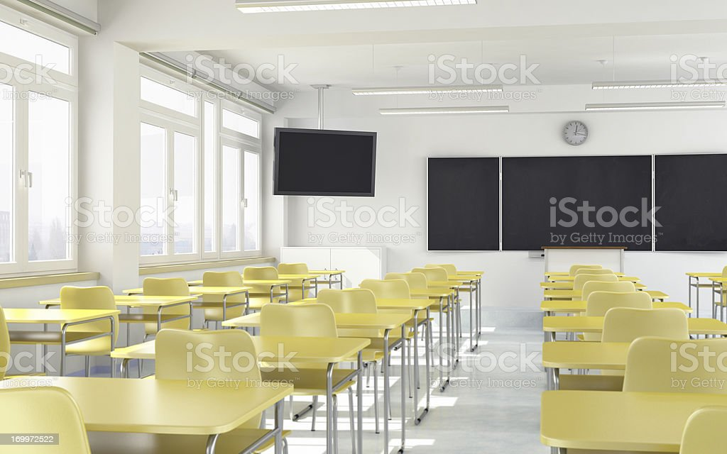Modern Classroom with LCD Television royalty-free stock photo