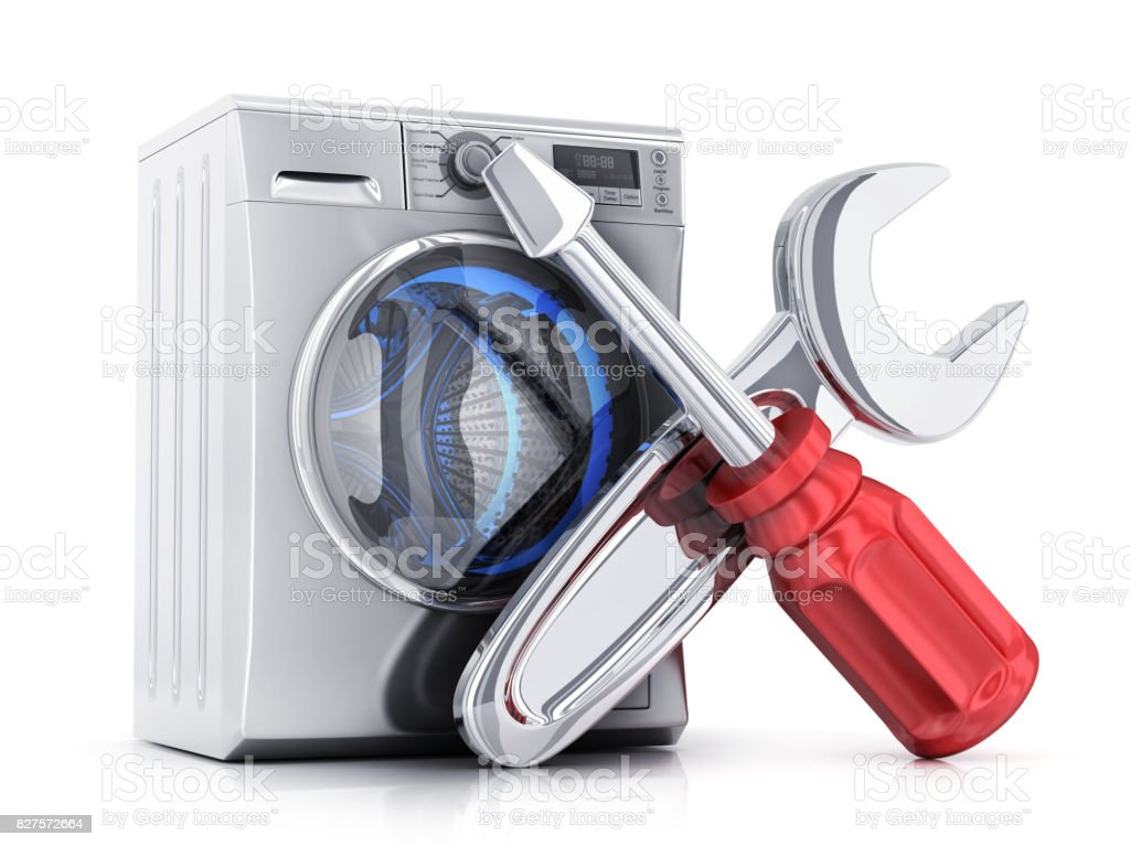 Modern clothes washer and symbol repair stock photo
