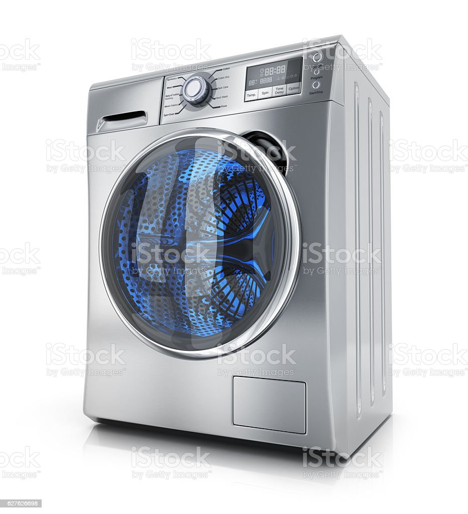 Modern clothes washer stock photo