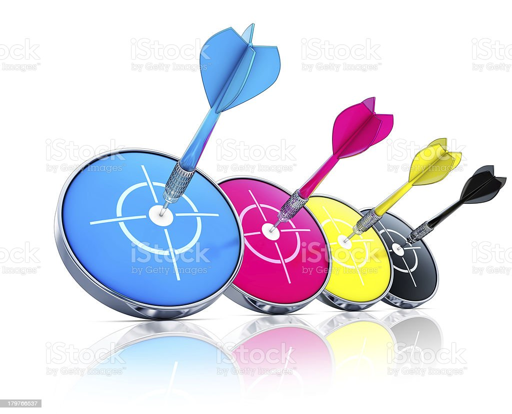 Modern CMYK concept in several different colors royalty-free stock photo