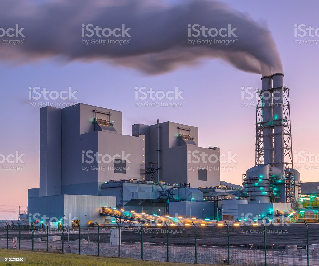 Modern coal and biomass powered plant stock photo