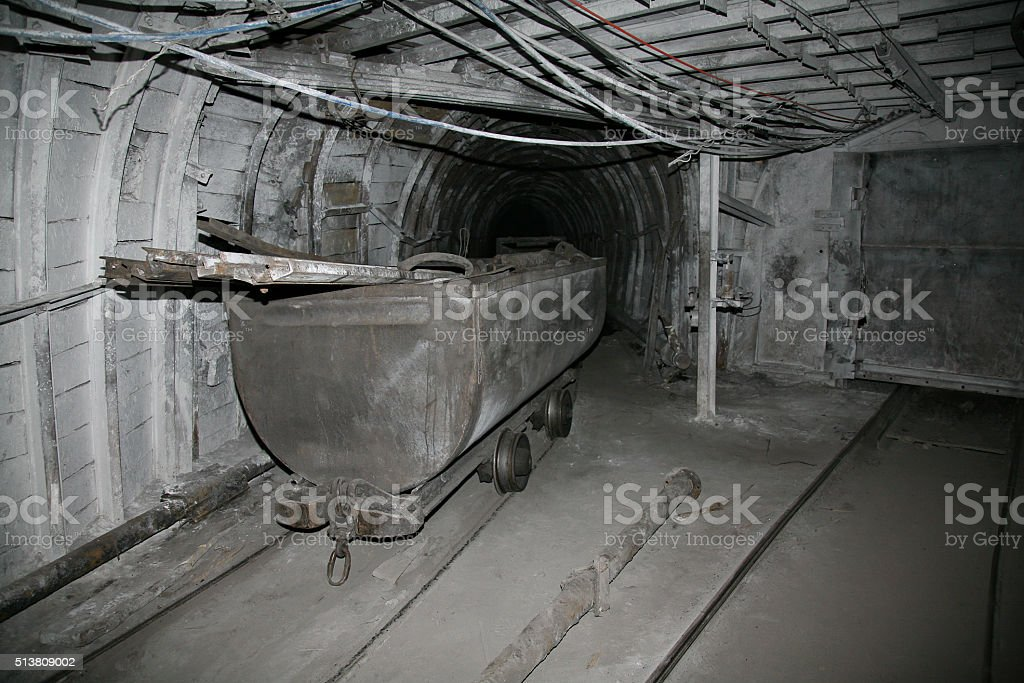 Modern coal mine underground stock photo