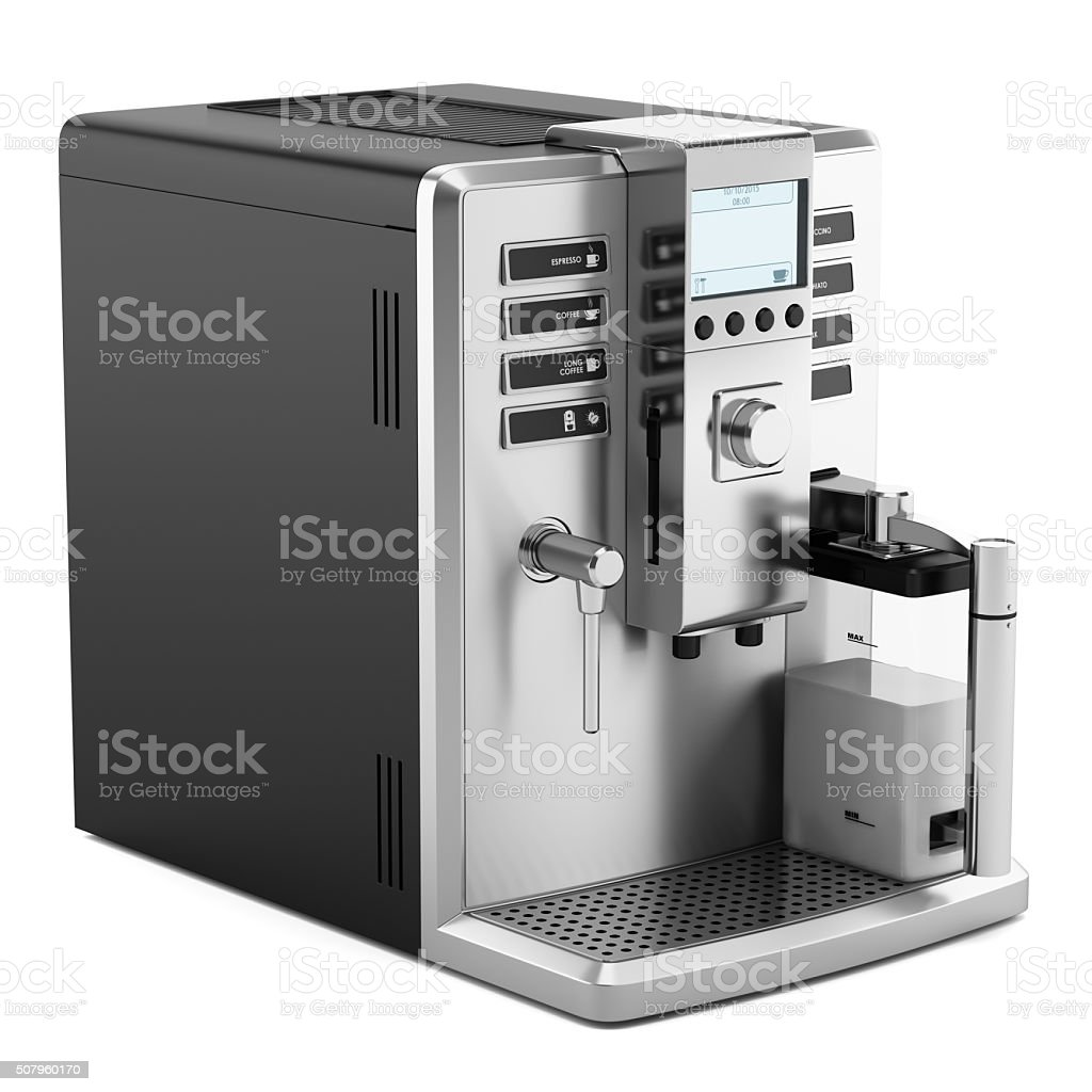 modern coffee machine isolated on white background stock photo  - modern coffee machine isolated on white background royaltyfree stock photo