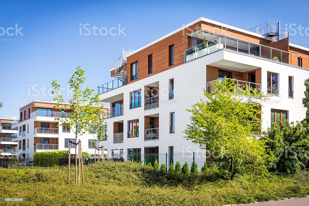 Modern colorful complex of apartment buildings stock photo