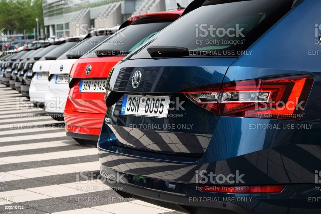 Modern combi vehicles on the parking stock photo