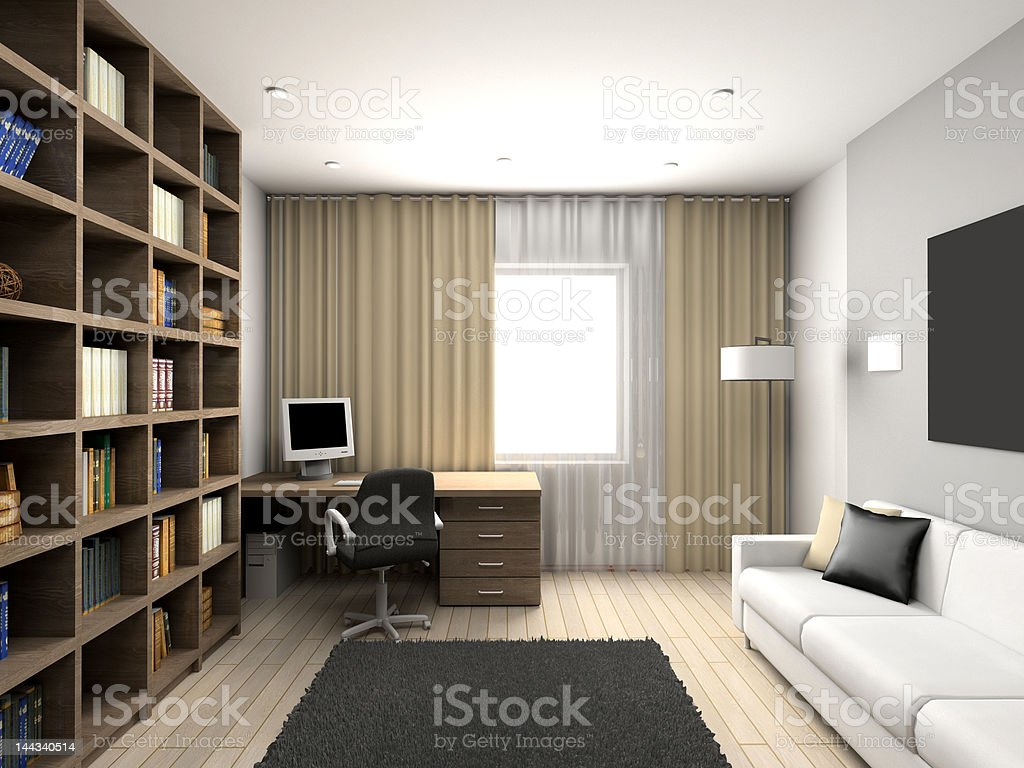 modern comfortable interior. Cabinet. royalty-free stock photo