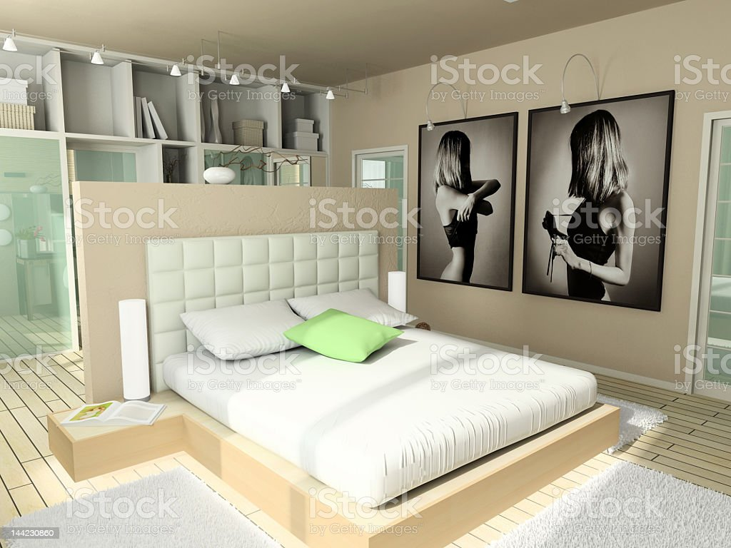 Modern comfortable interior with nude colors royalty-free stock photo