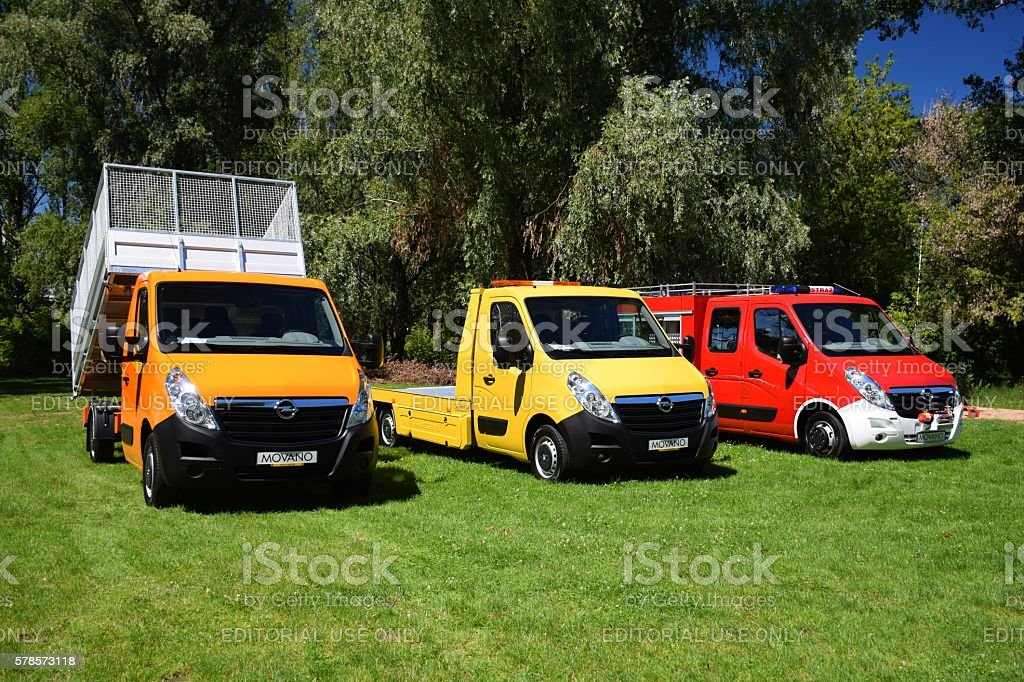 Modern commercial vehicles on the grass stock photo