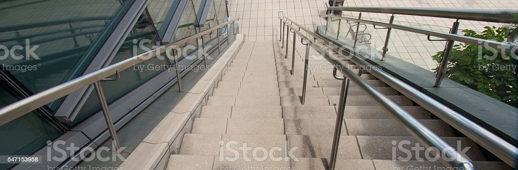 Modern Commerical Stainless Steel Handrailing and Stairs, No Peopel, 3XL stock photo