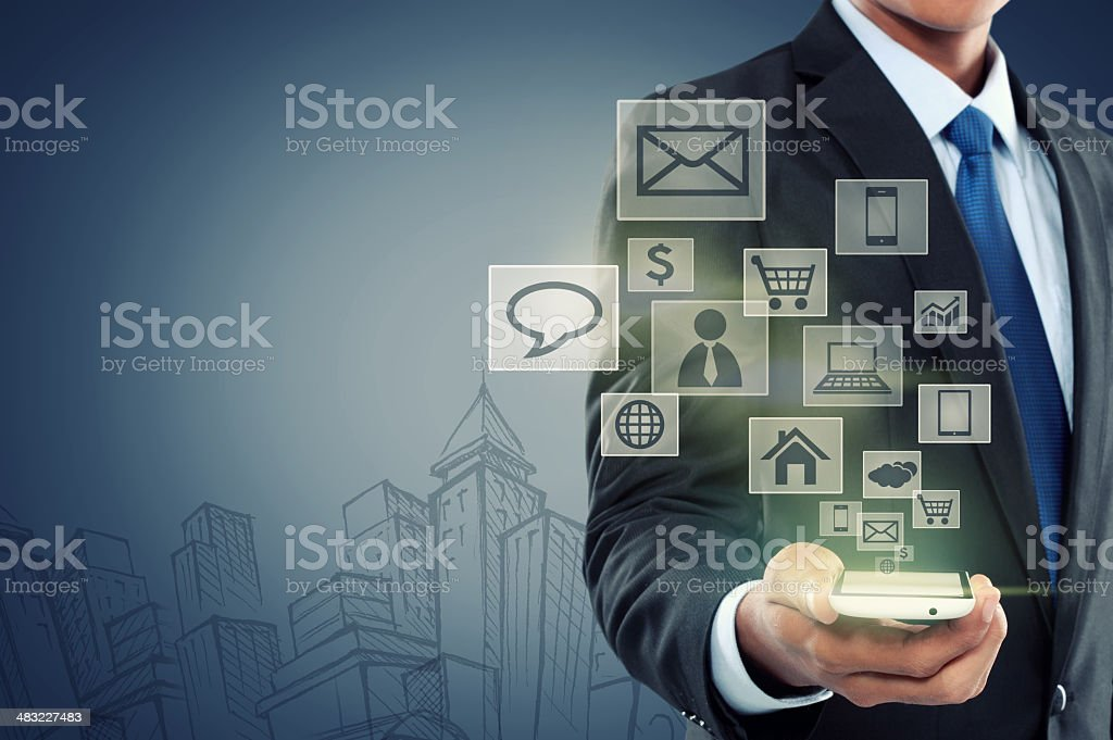 Modern communication technology mobile phone stock photo