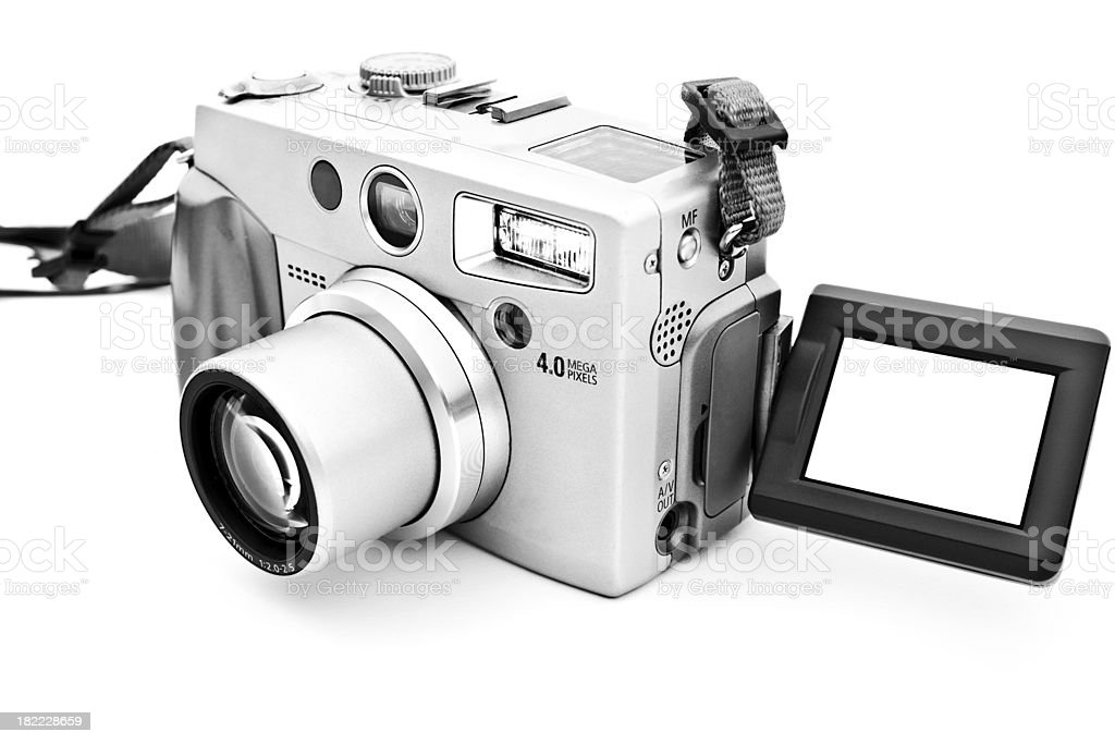 Modern compact camera with copyspace on white stock photo