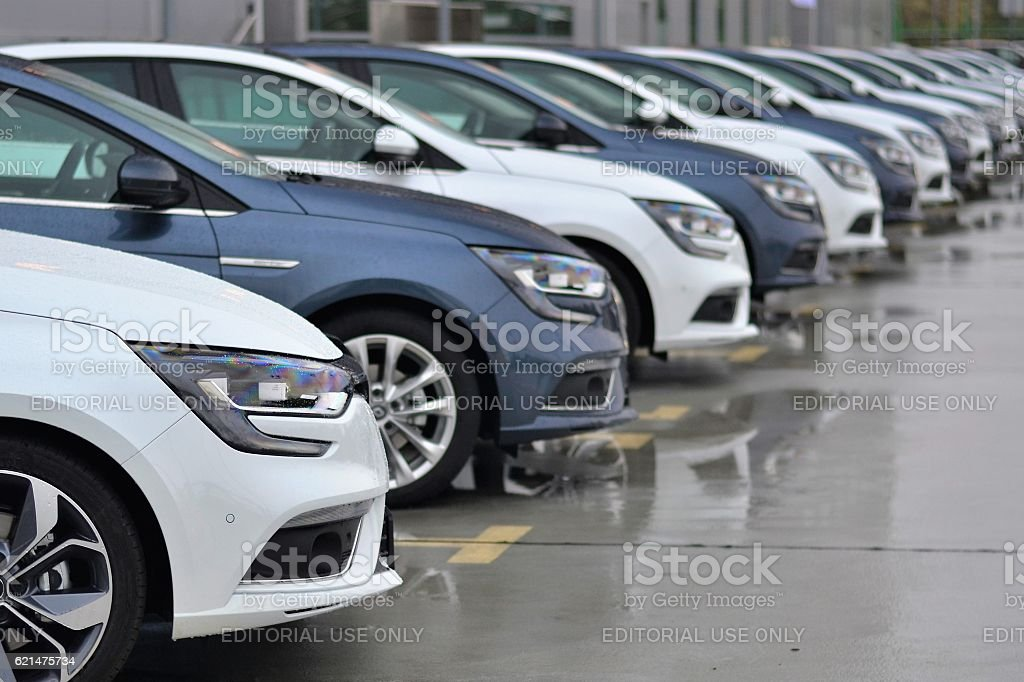Modern compact cars on the parking stock photo