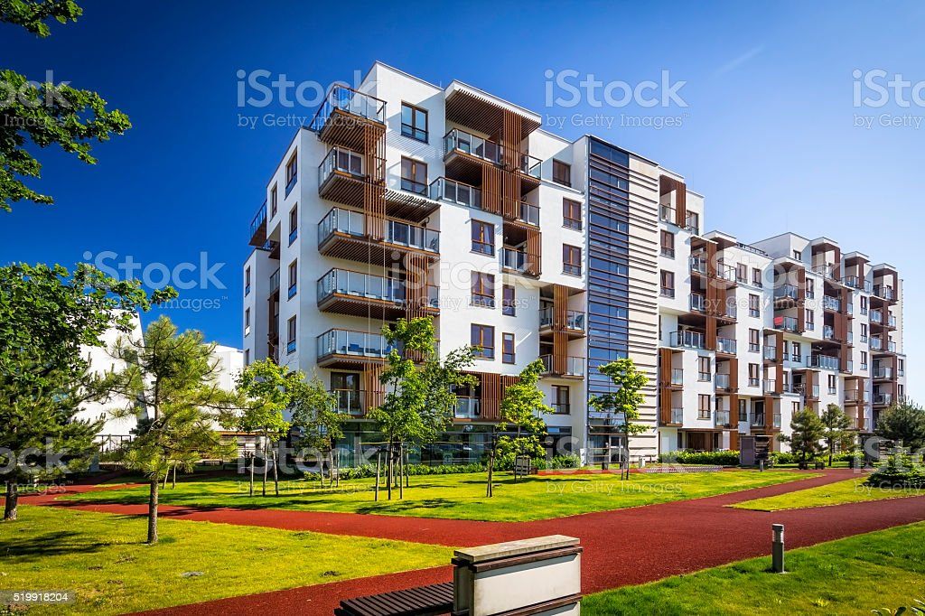 Modern complex of apartment building stock photo