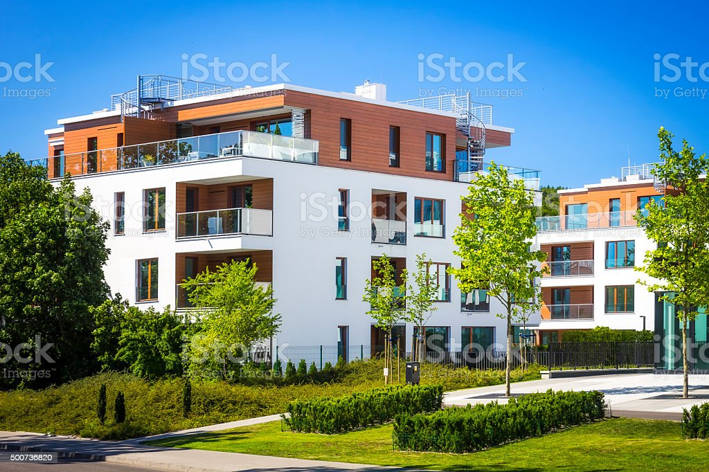 Modern complex of apartment buildings, Gdynia stock photo