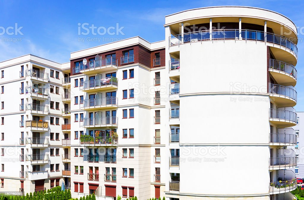 Modern complex of apartment buildings stock photo