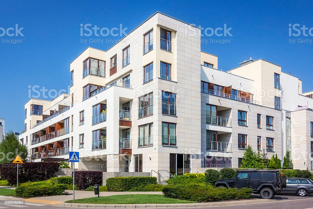 Modern complex of white apartment buildings, Warsaw stock photo
