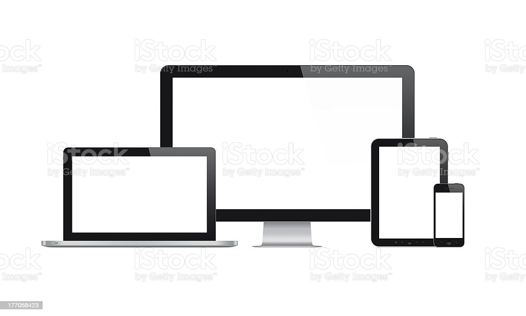 Modern computer and mobile devices stock photo