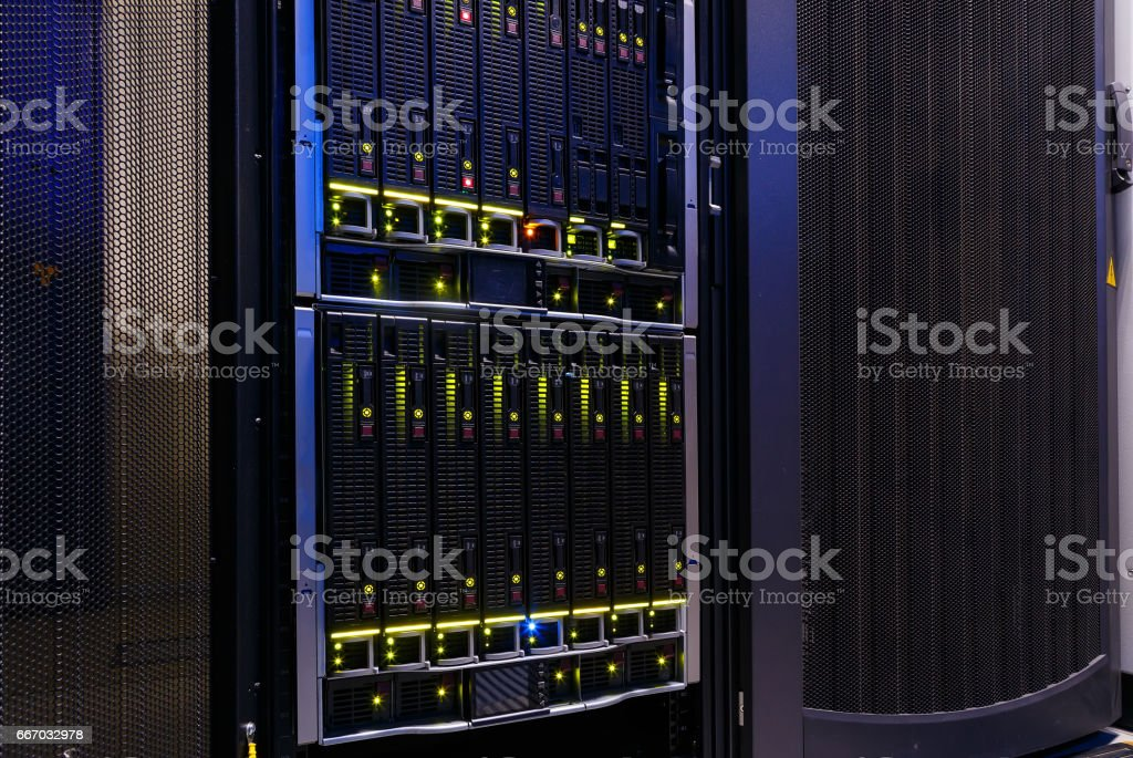 Modern Computer Server in rack  close-up stock photo