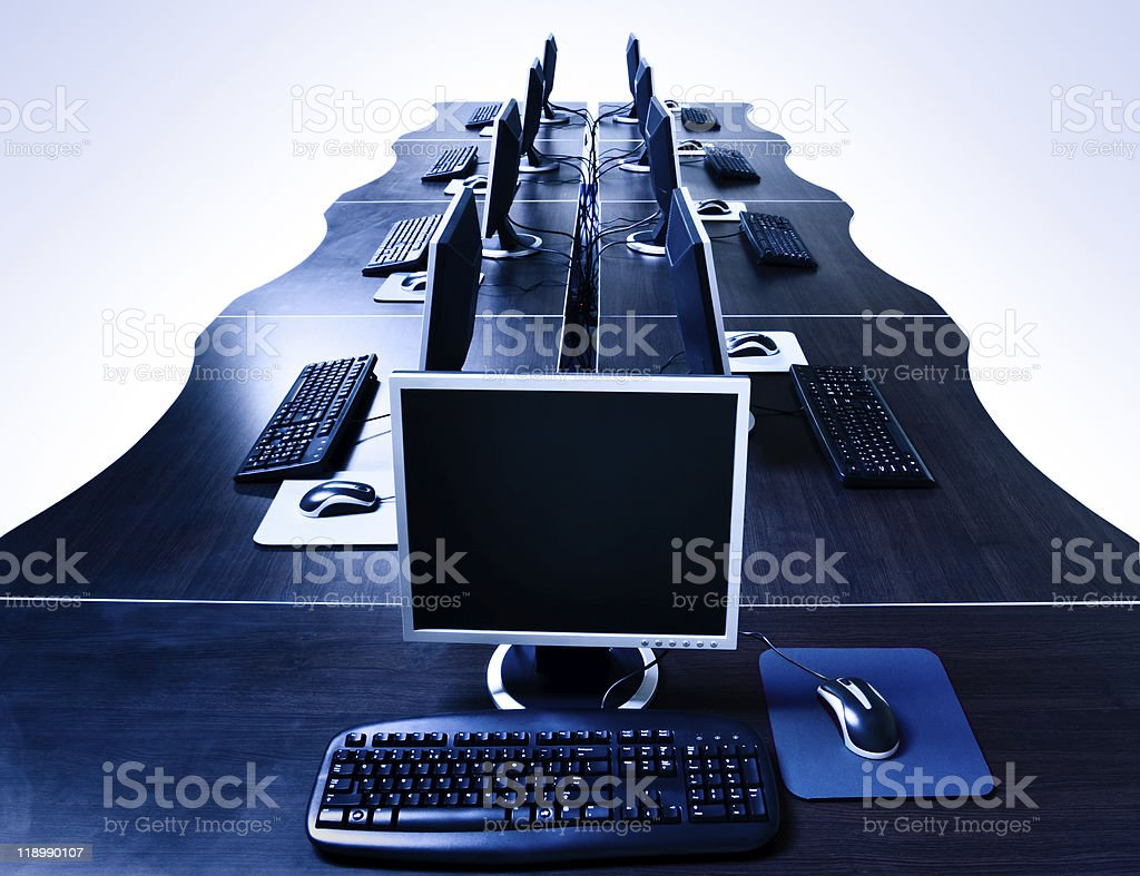 modern computers room isolated royalty-free stock photo