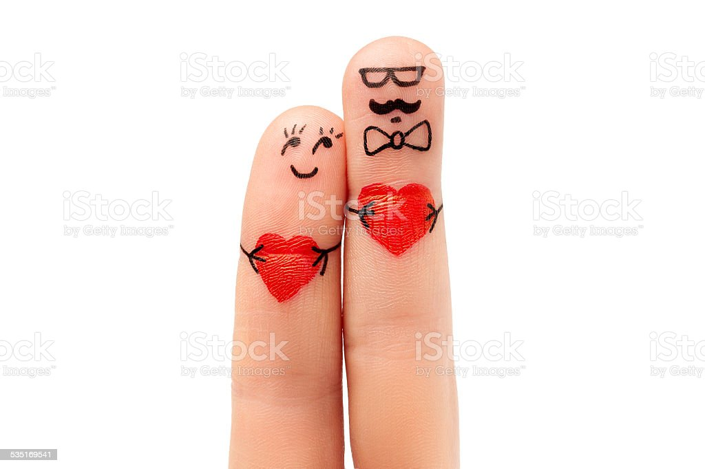modern concept a hipster man and a woman with heart stock photo