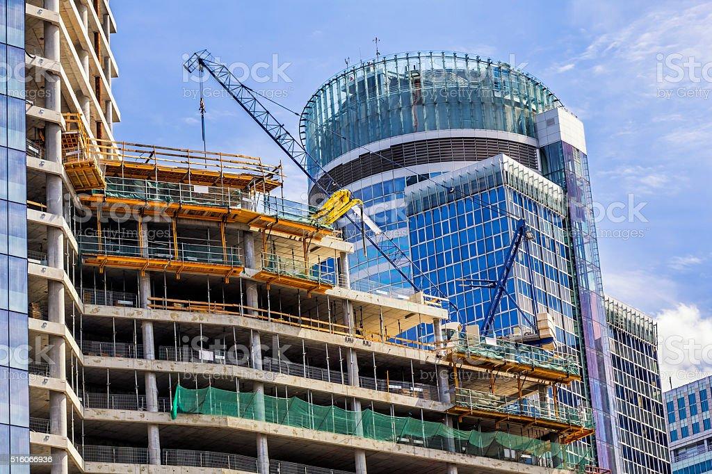 Modern concrete skyscrapers under construction stock photo
